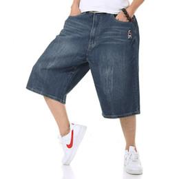 Top Quality Verão Tamanho Grande Perna Larga Masculino Skate Swag Baggy Calça Jeans Calças Capri Denim Calças Dos Homens Plus Size 4XL 5XL 42 46 44 de