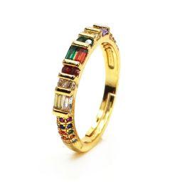 2019 anillos de oro de diseño mixto Joyería artificial Anillo de piedra de color mezclado ZC arco iris mezcla de color zircon Diseño Anillo de amor chapado en oro Anillo de señora vendedor caliente