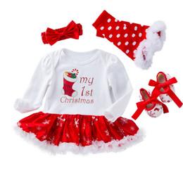 2019 roupa de floco de neve baby 4pcs / lot partido baby girl vestir vestido do Natal do floco de neve de manga comprida e sapatos e meias com a roupa hairband crianças desconto roupa de floco de neve baby