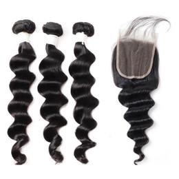 Argentina 9A floja profunda onda del cuerpo del cabello humano Paquetes con cierre profundo flojo 3Bundles con cierre de encaje 8-28 pulgadas Remy extensiones de cabello humano Suministro