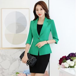 1d66af9dbf7 New Novelty Green Formal Professional Business Work Suits With Jackets And Dress  Office Ladies Work Wear Blazers Outfits