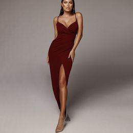 2019 vestidos de sotaque vermelho Mulheres Spaghetti Strap Dresses Sexy Gargantilha Aberta Com Decote Em V do Vestido 2019 Marca de Moda Estilo Boate Saias S-L Tamanho Saia de Verão
