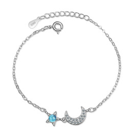Schöne geburtstagsgeschenke für mädchen online-SL103 Fresh little artificial blue crystal stars moon diamond bracelet cute hand jewelry girl beautiful birthday gift