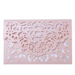 laser cutting wedding card designs Coupons - Pink Laser Cut Floral Design Wedding Invitations Cards Elegant Birthday Greeting Card Kits Party Decor 12pcs