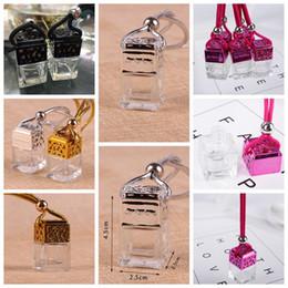 4styles Cube perfume bottle glass New car hanging pendant car home decoration Perfume bottle Storage DIY mini packing Bottles 6ML FFA1423