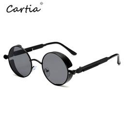 4a687f57397 Discount sunglasses polarized steampunk - Steampunk Round Sunglasses Women  Men Luxury Brand Designer Circle Sun Mental