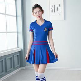 2019 uniformi di calcio in nylon Sexy Fantasy cheerleading Calcio Baby Split Sport Calcio Gioco Team girl Costumi Uniformi Tifo Tentazione Tute sportive C18122701 uniformi di calcio in nylon economici