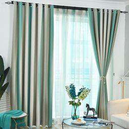 2019 cortina estilos plissados Moderno e elegante quarto listrado sala cortinas cortinas de janela de tule estilo nórdico arco-íris colorido pendurado apagão