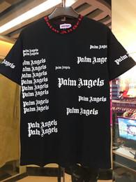 2019 juegos de chica americana Moda Hiphop streetwear Palm Angels Cuello redondo para hombre de la letra de algodón de impresión de manga corta camiseta Tee envío gratis