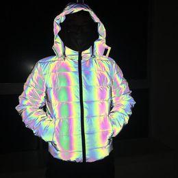 2019 jaqueta zip completo Brasão reflexivo inverno grossas de algodão Homens reflexivo colorido Luz impermeável à prova de vento Thicken Keep Warm Jacket Sobretudo com capuz