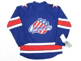 Дешевые американские хоккейные трикотажные изделия онлайн-Дешевые пользовательские Рочестер американцы синий AHL премьер хоккей Джерси стежка добавить любое количество любое имя мужской хоккей Джерси XS-6XL
