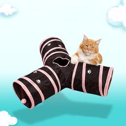 2019 túneis de gato Premium de Três Vias Dobrável Extensível Túnel do Gato para Gato Filhote de Cachorro de Brinquedo de Coelho Tubos Túneis Dobrável Pet Cat Túnel DH0814 T03 túneis de gato barato