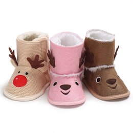 70c6025b057 Brand Newest Cute Newborn Baby Girl Knit Elk Warm Boots Booties Infant  Toddler Newborn Snow Slippers Cotton Warm Xmas Boots