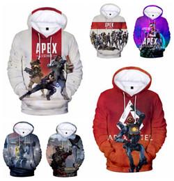 2019 lenda cheia 25 projetos Apex Legends hoodies grandes meninos meninas unisex camisolas amantes casal roupas 3D impressão completa com capuz de lã com capuz lenda cheia barato