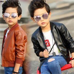Jungen lange lederjacke online-Boy PU-Lederjacke-beiläufige lange Hülsen-Herbst-Kind-Mantel-Lederjacken für Junge Kinderkleidung 4 5 6 7 8 9 10 11 12 Jahre