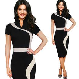 Vestido de oficina profesional de las mujeres online-Vestido europeo y americano de las mujeres soporte retro cuello color curva costura lápiz falda oficina cuello blanco profesional falda