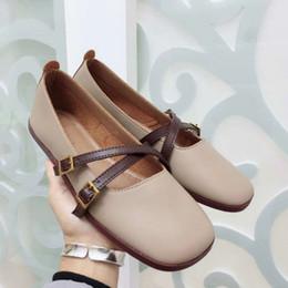 diseñador de ballet Rebajas las mujeres del diseñador de moda de lujo zapatos de estilo coreano Pisos hebilla de metal de ballet zapatos de cuero de piel de oveja Mujeres Pisos punta cuadrada slip-on 35-41