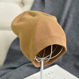 % 100 Yün Kaşmir Örme kasketleri Kalın Katman Kaşmir Skullies Kadın Şapka Örme Sıcak Caps Unisex Skullies Beanie Sıcak nereden daire saç bandı tedarikçiler