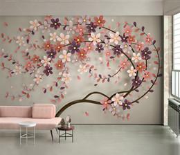 Flores de papel tapiz de la vida moderna online-Fondo de pantalla personalizado 3D Nuevo Un árbol Flor Nordic Moderno 3d Sala de estar Dormitorio Fondo Decoración de pared Mural Wallpaper