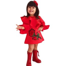 6b3da2d7c3 good quality Baby Girls dresses kids dress Ruffles Rose Floral Embroidery  Flrae Sleeve Dresses Outfits vestido menina robe fille
