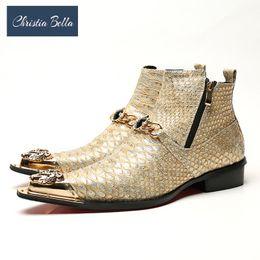 Scarpe da uomo Christia Bella in pelle di serpente invernale Stivali in vera pelle Stivali con punta in metallo moda Catena in cristallo alla caviglia