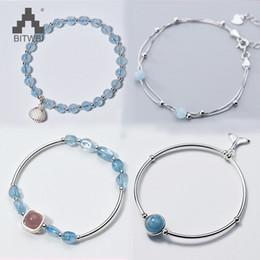contas de pedra de aquamarine Desconto 100% 925 Sterling Silver Bracelet por Mulheres Natural Sorte Gem Stone Beads Aquamarine Charme Pulseiras Bangles