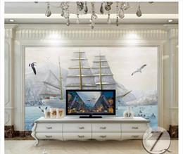 Óleo, pintura, mar on-line-Atacado-Personalizado 3d silk photo mural papel de parede HD enorme mar barco beleza pintura a óleo arte sala de estar TV sofá fundo mural