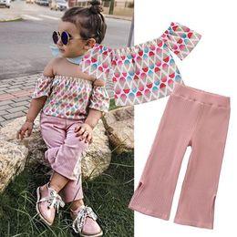 Розовые кремовые малыши онлайн-Детская одежда Одежда для девочек 2019 Детская одежда для бутиков Девочка с мороженым Футболки с плеча Розовые брюки из двух частей Наборы INS