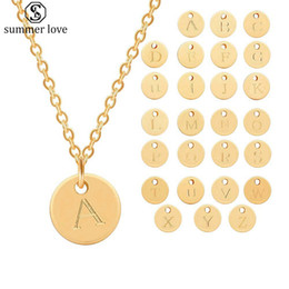 sold gold coins Coupons - Hot Selling 26 Initial Letters Necklaces for Women Silver Gold Name Coin Letter Necklace Friends Family Party Jewelry Gift With Cards