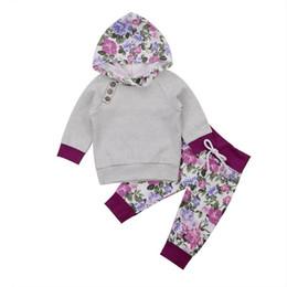 2019 los niños calificaron la sudadera con capucha 2017 A Estrenar Newborn Toddler Infant Kids Outfit Baby Girl Ropa Sudadera Con Capucha de Manga Larga T-shirt Tops Pantalones Floral 2 Unidades Otoño Conjuntos Y18120801 los niños calificaron la sudadera con capucha baratos