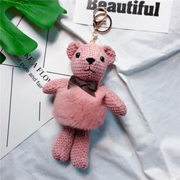 Il vestito porta i sacchetti online-Rex coniglio fur vest ananas bambola portachiavi piccolo regalo carino ciondolo in peluche ciondolo creativo portachiavi ragazza