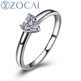 обручальные кольца с бриллиантами Скидка ZOCAI форме сердца 18K белое золото (Au750) реальный 0.18 CT F-G/ SI сердце бриллиантовое обручальное кольцо W03672s1123
