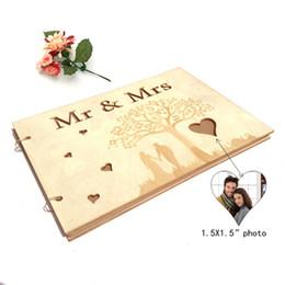 Romantische Holzbilderrahmen Hochzeit Unterschrift 20 Seiten mit 2er Schlüsselanhänger tragbar von Fabrikanten