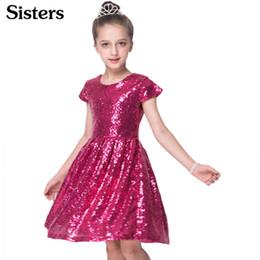 boutique rosa rossa Sconti Sisrers Ins Fashion Girls Dress Paillettes Abito manica corta Party Dress Shiny Princess Boutique Abbigliamento Golden Rose Red Q190522
