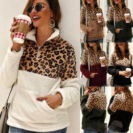2019 шерстяные пальто шерпа Женщины леопардовый пэчворк пуловер с длинным рукавом молния шерпа толстовка с капюшоном флис верхняя одежда с карманами топы пальто с капюшоном LJJA3035 скидка шерстяные пальто шерпа
