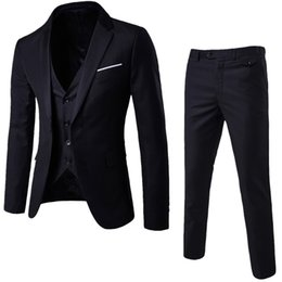 esmoquin negro solo botón Rebajas Traje de boda para hombre de lujo Blazers masculinos Trajes slim fit para hombre Traje de 3 piezas Blazer Chaqueta de fiesta de bodas de negocios Chaleco Chaleco Pantalones