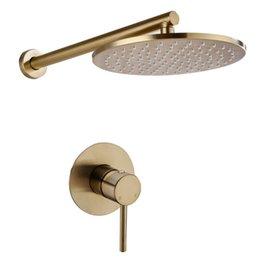 2019 paredes de chuveiro sólidas Escovado ouro sólido latão banheiro chuveiro torneira fixado na parede desconto paredes de chuveiro sólidas