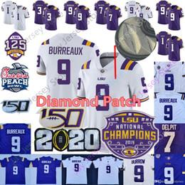 Parches de fútbol americano universitario online-LSU Tigers Burreaux jersey del fútbol de diamante Patch 2020 campeones de la segunda fase de la universidad 9 Joe Madriguera Apodo Beckham 7 Delpit Mathieu de Chase