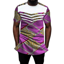 2019 camicia bianca indossa gli uomini Camicia da uomo africana Ankara o-collo sopra uomo dashiki camicie patchwork estive bianco / cerato mix vestito africano sposo su misura sconti camicia bianca indossa gli uomini