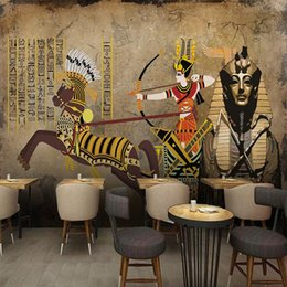 Pintura egípcia on-line-Foto feita sob encomenda Egypt Recados Clássica Pintura Sala Restaurant Cafe fundo Murais Wallpaper impermeável auto-adesiva
