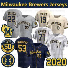 listras amarelas de jérsei preto Desconto 2020 Milwaukee Brewers Christian Yelich 50º Jersey 71 Josh Hader 24 Jesus Aguilar 6 Lorenzo Cain 53 Brandon Woodruff Baseball Jerseys