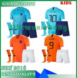 Camisa de futebol laranja on-line-Crianças kit 2018 2019 new Nederland camisa de futebol 18 19 lar orange países baixos HOLLAND ROBBEN SNEIJDER V.Persie holandês longe camisas de futebol