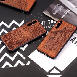 Legno totem online-Custodia in pelle di lusso in legno naturale per Huawei P20 Lite Lion Dragon Totem Manada copertura in TPU morbida per Huawei P20 Pro NOVA3E