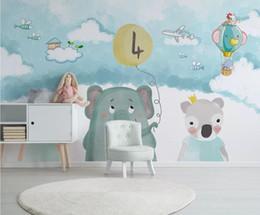 2019 papier tinte kunst Karton Bär Flugzeug Tapete 3d für Kinder Kinderzimmer Blauer Hintergrund Hauptwanddekor Tapeten Rolle HD Kontaktpapier