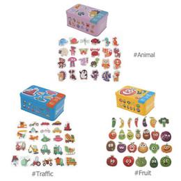 Brinquedos do bebê De Madeira Cognição Dos Desenhos Animados Cedo Início Treinamento Puzzles Brinquedos Caixa de Ferro Do Bebê Cartões de Correspondência Jogo Do Presente Do Bebê de