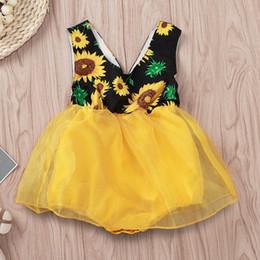 2019 vestido de tul amarillo niña 2019 nuevo verano infantil bebé girasol amarillo tul mameluco vestido princesa fiesta vestido tutu vestidos de sol vestido de tul amarillo niña baratos
