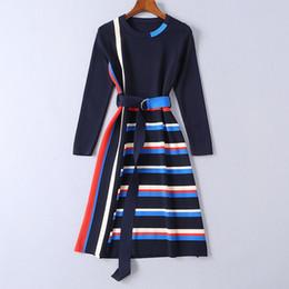 Gestreifte strickkleid frauen online-2019 gestreifte gestrickte lange Ärmel Mrmaid Frauen Urlaub Kleid Marke Same Style Schärpen Milan Runway Dress 11903
