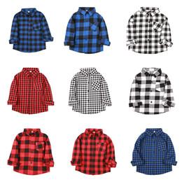 2019 muchachas a cuadros camisetas niños Baby Boys Girls Classic Plaids Camisa niños celosía Blusas de manga larga Casual Outwear Algodón Abrigo Niños Ropa 9 colores C5781 rebajas muchachas a cuadros camisetas niños