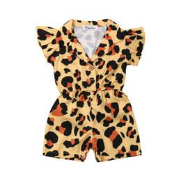 Mono leopardo niños online-Focusnorm Summer Kids Baby Girl Ropa Ruffle Leopard Romper Off Hombro Traje Traje Sunsuit 1-5Y