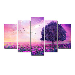 2019 lila baummalerei leinwand 5 Stücke für Ein Satz HD Lila Landschaft Baum Muster Ungerahmt Leinwand Malerei Wanddekoration Gedruckt Malerei poster